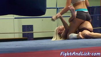 Small honey wrestling with euro lesbo