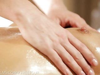Nubile films - erotic massage leads to bawdy facial