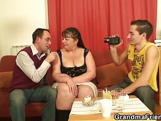 2 men film porn videos with old large wobblers woman