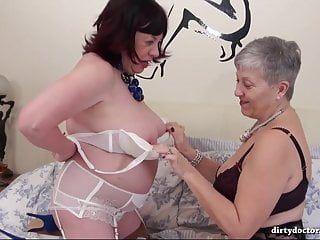 Immodest older lesbo playtime