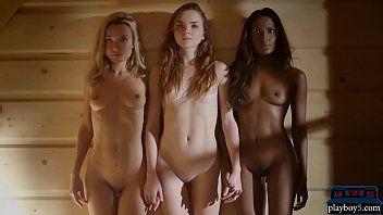 2 white and one african model jointly in a hawt sauna