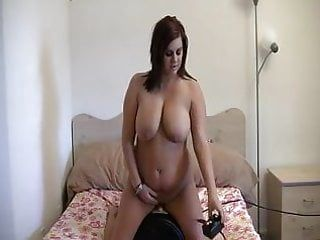 Hawt large tit honey riding sybian