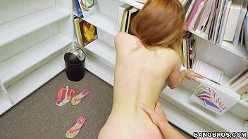 Pov pumping a slender redhead student