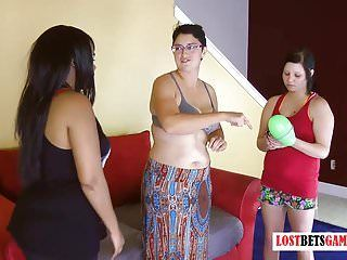 Three angels play a pop the bubble game, loser ends up stripped