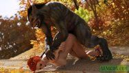 Little red riding hood drilled by werewolf monster. cg porn animation